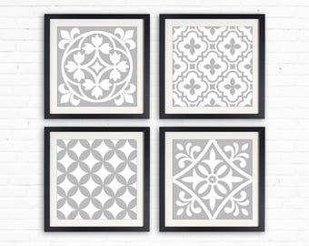 "Geometric patterns, Gray 8""x8"" printable art, digital pattern, Square Prints, Design Elements, Tile design, tile decor, pattern wall art"