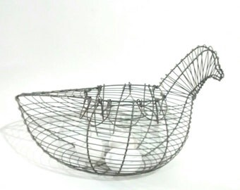 Chicken Hen Wire Egg Basket With Folding Handles