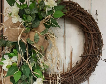 Front Door Wreath, summer wreath, spring wreath, Burlap Wreath, Door Wreath, vintage Wreath, wedding wreath, farmhouse wedding