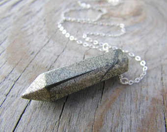 Pyrite Necklace, fools gold, pyrite point pendant, bullet necklace, sterling silver chain