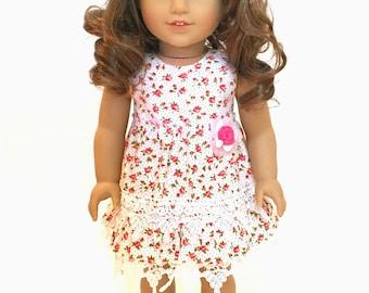 Ruffle Rosebud dress set for 18 inch doll - red rose and lace ruffle dress set - 18 inch doll dress - white lace shrug - Mori Style Dress