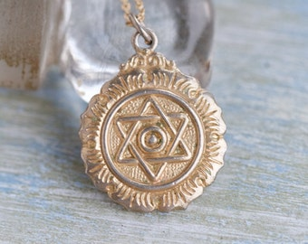 Star of David Necklace - Medallion Pendant on Long Chain