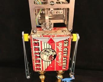 Aviator Bot - found object robot sculpture assemblage by Cheri Kudja with Bitti Bots