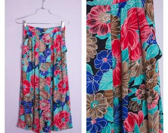 Vintage 1980's Tropical Floral Midi Skirt XS/S