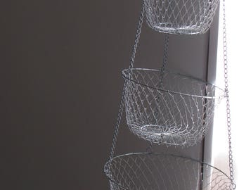 Vintage 3 Tier Silver Tone Wire Hanging Basket