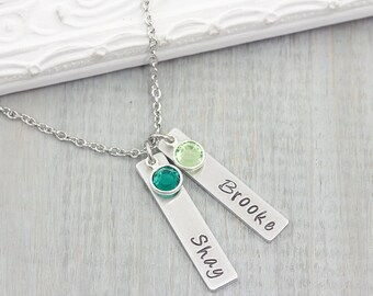Personalized Name Necklace - Hand Stamped Jewelry - Mom Necklace with Kids Names - Personalized Mom Necklace - Gift for Mom - Valentine Gift