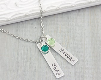 Personalized Name Necklace - Hand Stamped Jewelry - Mom Necklace with Kids Names - Personalized Mom Necklace
