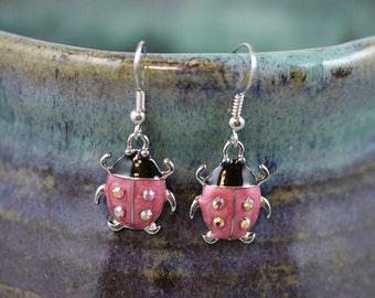 Ladybug Dangle Earrings - Item 1865