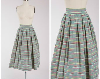 1950s Vintage Skirt • Carefree • Green Striped Cotton 50s Pleated Skirt Size Small