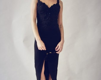 90's Black Fitted Occasion Dress