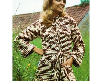 PDF Seventies Crochet Pattern to make a Womens Long Jacket Short Coat Button Fastening Patch Pockets in 4 Sizes to fit 32 to 38 inch Bust