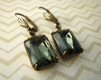 Vintage Czech Glass Gem Earrings - Black Diamond Old Hollywood Estate Style Earrings