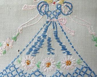 Vintage Embroidered Southern Belles Table Runner Dresser Scarf - Blue Dresses Wide Brim Hats - Vintage Table Linens - Arts Crafts AS IS