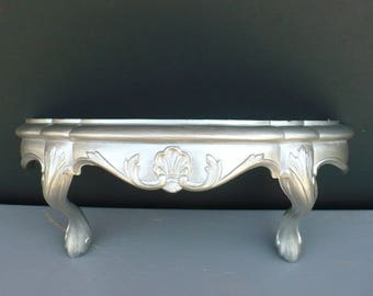 Brushed Nickel Ornate Footed Wall Shelf French Cottage Shabby Chic Metallic Silver Home Decor Modern
