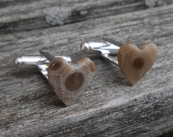 Heart Petoskey Stone Cufflinks. Fossilized Coral. Wedding, Groomsmen Gift, Men's Christmas Gift, Dad. Michigan