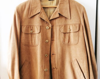 Father's Day 70s Chamois Cloth Shirt // Vintage Men's Tan Coat Fully Lined // Kaufman's Menswear