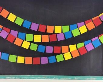 Rainbows Squares 12ft. Garland: Rainbow Birthday Party, 1st Birthday Boy, Art Birthday Party, Classroom Decor, Noah's Ark Birthday