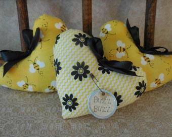 Primitive Summertime Bumblebee & Daisy Heart Set Bowl Filler Tucks