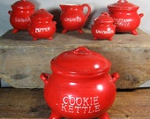 Vintage 1950s Red Kettle Ceramic Cookie Jar and Canister Set for Kitchen Storage by ARGO Japan