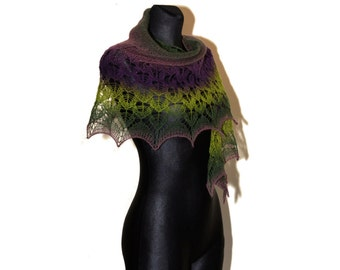 Hand Knit Lace Shawl, Green and Purple Knitted Shawl, Lace Shawl in Shades of Green and Purple, Crescent-shaped Scarf