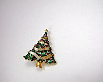 Vintage CHRISTMAS TREE BROOCH Enamel & Red Rhinestone Holiday Pin