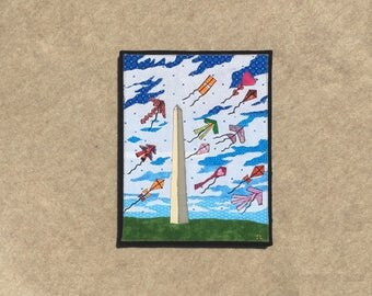 The Kite Festival, 11x14 inch canvas, sewn fabric art, sewn on a 1968 Singer, all recycled fabrics, ready to hang canvas