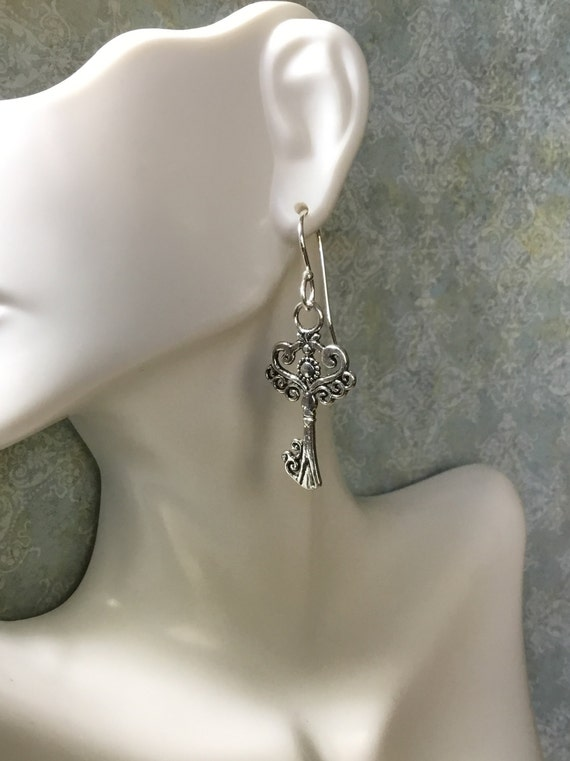 Ornate Key Earrings, Women's Jewelry, Handmade Jewelry,