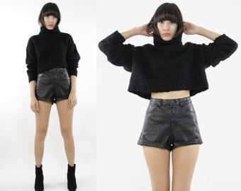 Oversized Black Knit Turtleneck Crop Sweater