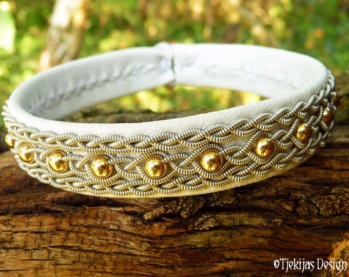 YDUN Swedish Sami Viking Bracelet Cuff in White Leather with 14K Gold filled beads and Tin Thread Braids - Custom Handmade Norse Jewelry