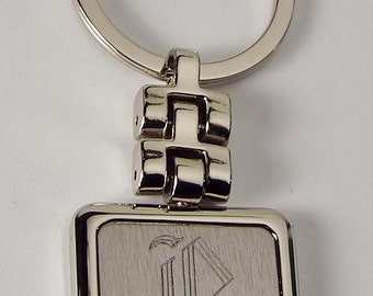 Personalized Old English Initial Engraved Square Key Chain Silver Custom Engraved - Hand Engraved