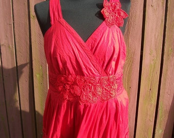 Red & Black Bohemian Wedding Dress - Vintage Hand Sewn Rosettes - Size 16