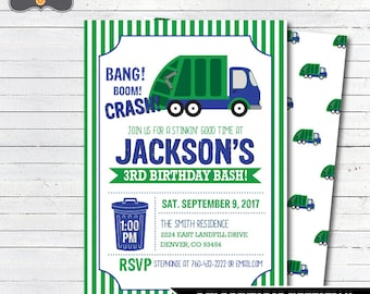 Garbage Truck Birthday Invitation, Garbage Truck Party, Trash Truck Birthday, Truck Birthday Invitation, DIY Printable Invitation