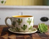 Cactus Cup & Saucer - Real Gold - Bright Yellow - Modern Design - READY TO SHIP
