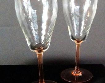 Vintage Rose Color Stem and Base, Optic Wine Goblets, Wine Glass, Glassware, Barware, Stemware