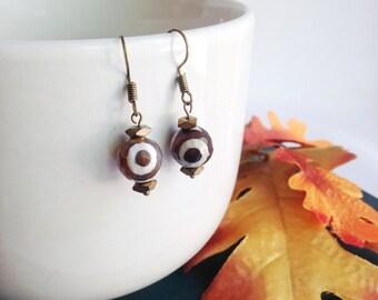 Bead earrings, agate gemstone, brown and white earrings, Boho earrings, bohemian earrings, evil eye, tribal earrings, ethnic jewelry