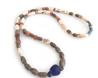 Ancient Neolithic Fossilized Shell Beads Strand Necklace with Carnelian and Granite Beads, Mali