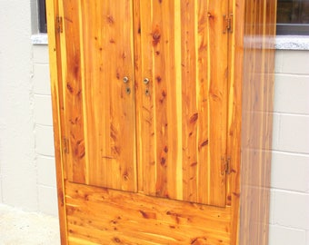 Genuine Solid CEDAR Murphy Armoire Wardrobe Closet Cabinet Chest with Double Doors Full Length - 1940's Clothes Storage #1