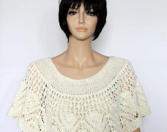 wedding shawl cape pattern Capelet Pattern Knit Wrap pattern Lacy pelerine shawl pattern Shawl poncho