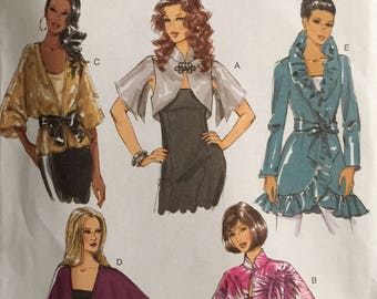 Butterick B5714, Size X Small, Small, Medium, Misses' Jacket and Belt Pattern, UNCUT, Very Loose Fitting, Cover up, Fashion, 2011, Variety