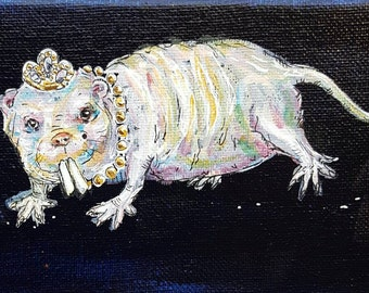 Naked mole rat, acrylic painting, ugly and proud, hairless rat, unique art, ugly animals, weird curio, inspirational wall art, one of a kind