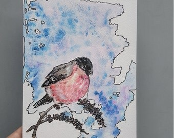Bird art, Nature watercolor, Bullfinch painting, mixed media, original art, red bird, Eurasian birds, small painting, winter scenery
