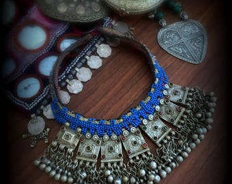 Old Kuchi Choker Necklace Tribal Choker Kuchi Necklace Tribal Dangle Necklace Blue Gypsy Necklace Ethnic Necklace Tribal Jewelry Festival