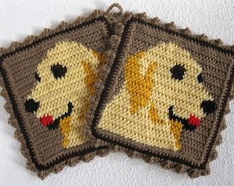 Golden Retriever Pot Holder Set. Thick crochet dog potholders. Dog decor. Tapestry crochet, animal pot holder