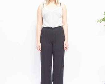 90s Soft Black Leisure Pants / Trousers / Size Small, XS