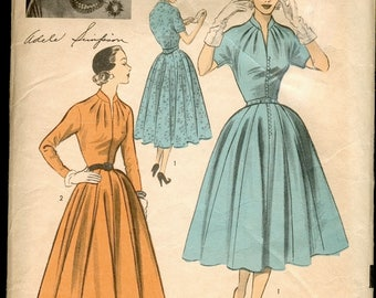 Fab Vintage 1950s Advance American Designer 6190 Adele Simpson Full Skirted Pleated Neckline Mandarin Collar Dress Sewing Pattern B32