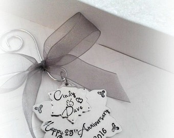 Anniversary Christmas Ornament - Christmas presents - Unique Anniversary gifts- Sentimental Ornaments- The Charmed Wife - Christmas gift