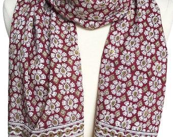 "Hand Block Printed Scarf - Marigold Maroon  - 15.5"" x 70"" - 100% cotton"