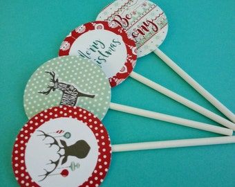 DIGITAL DOWNLOAD Christmas Cupcake Toppers Reindeer Ornaments Rustic