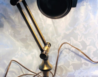 Adjustable Antique Brass Piano Desk Banker Table Lamp