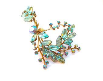 Aquamarine Art Glass Brooch Huge Vintage Sparkling Statement Jewelry Judy Lee Juliana